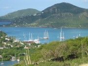 English Harbour, Antigua. The_dark three masted boat is owned by Silvio Berlusconi